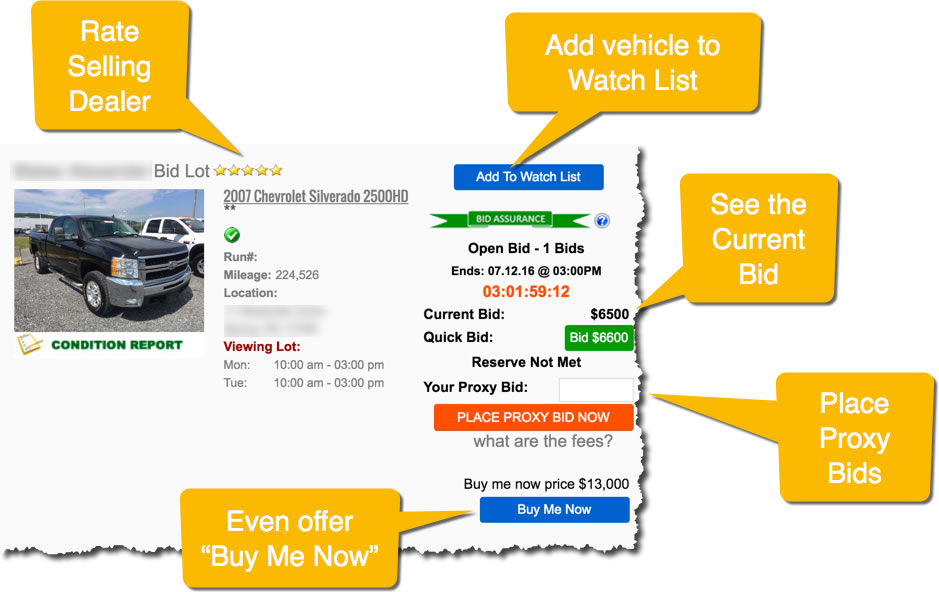 Live bid auto auctions for car dealers